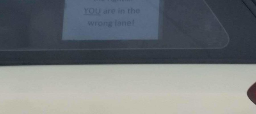 You are driving on the wrong lane